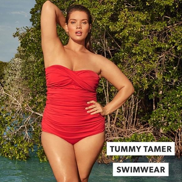 ec547e3442 JustFab Swim | Red Gathered Tummy Control One Piece M | Poshmark